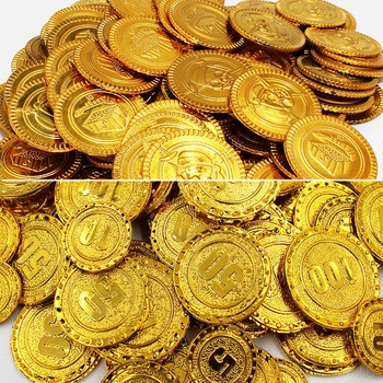 50Pcs Plastic Pirate Gold Coin Game Denomination Coin Gems Children's Party Supplies Halloween Decor ation Children's Toys 88 image