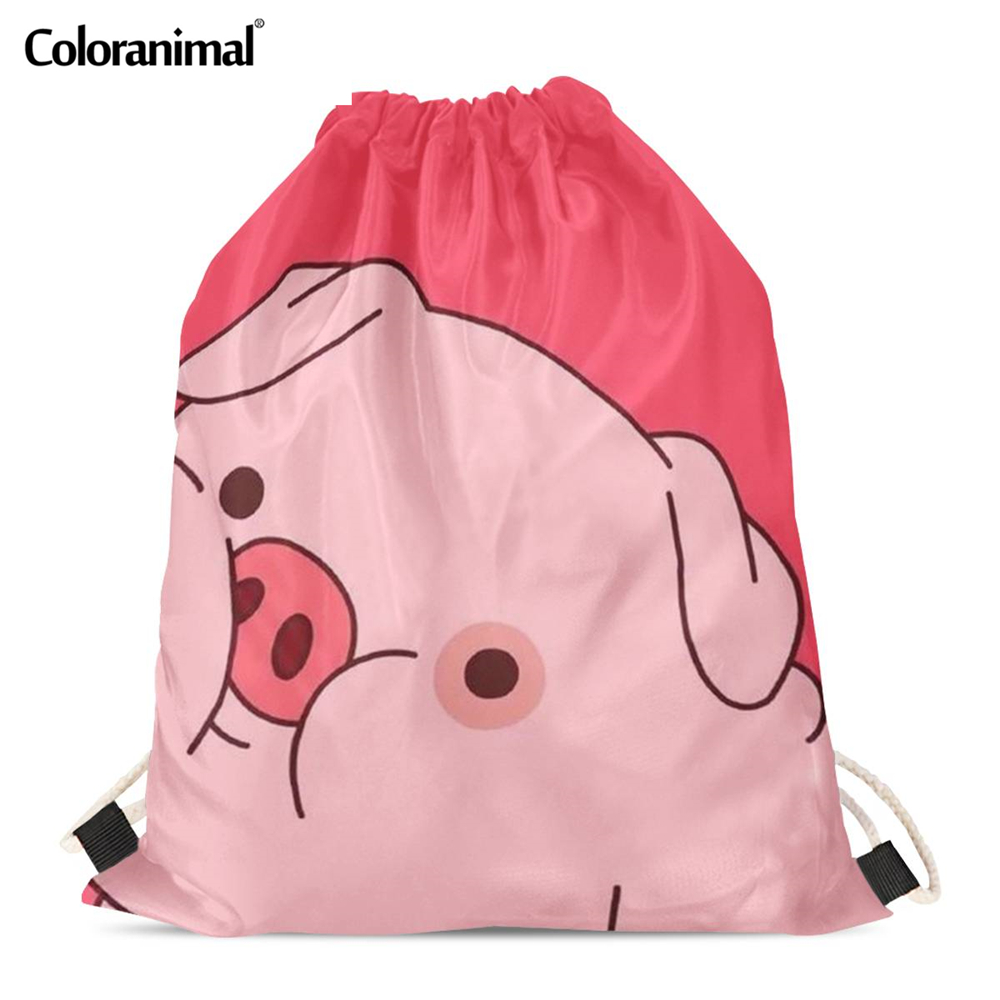 Coloranimal Cute Pink Pig Printed Drawstring Bag Soft Beach Bags Boys Storage Bag Teenager Soft Backpack Travel Bags For Ladies