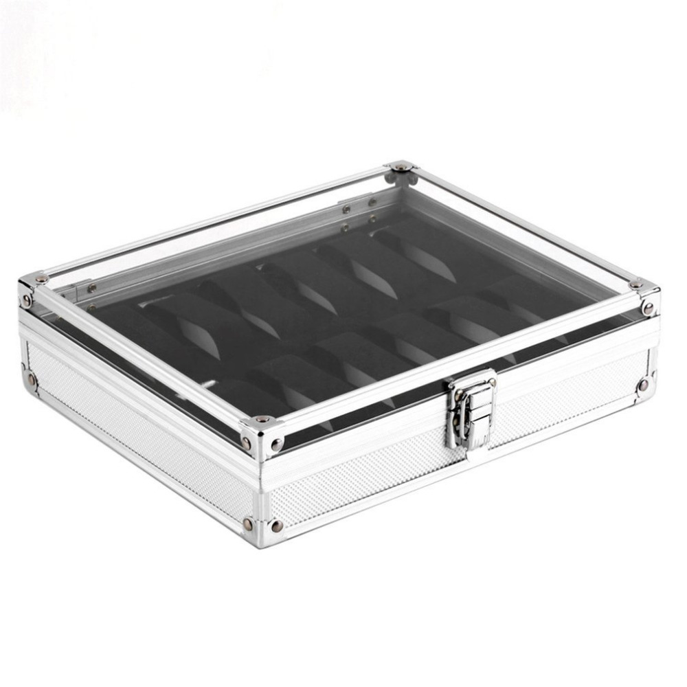 12 Grids Slots Aluminium Watches Box Jewelry Display Storage Square Case Suede Inside Container Watch Casket