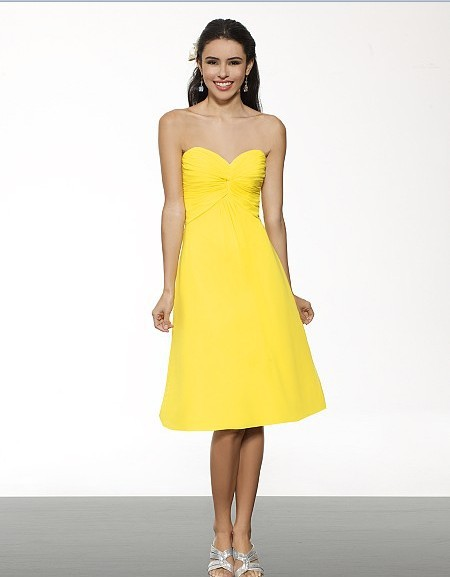 Free Shipping New Vestidos Sleeveless Women Dress Chiffon Knee Length A-line Sweetheart/open Back Natural Waist Bridesmaid Dress