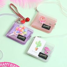 Fashion  Women Girl Glitter Short Wallet Coin Purse Transparent Credit Card Holder with Lanyard Rope F42A