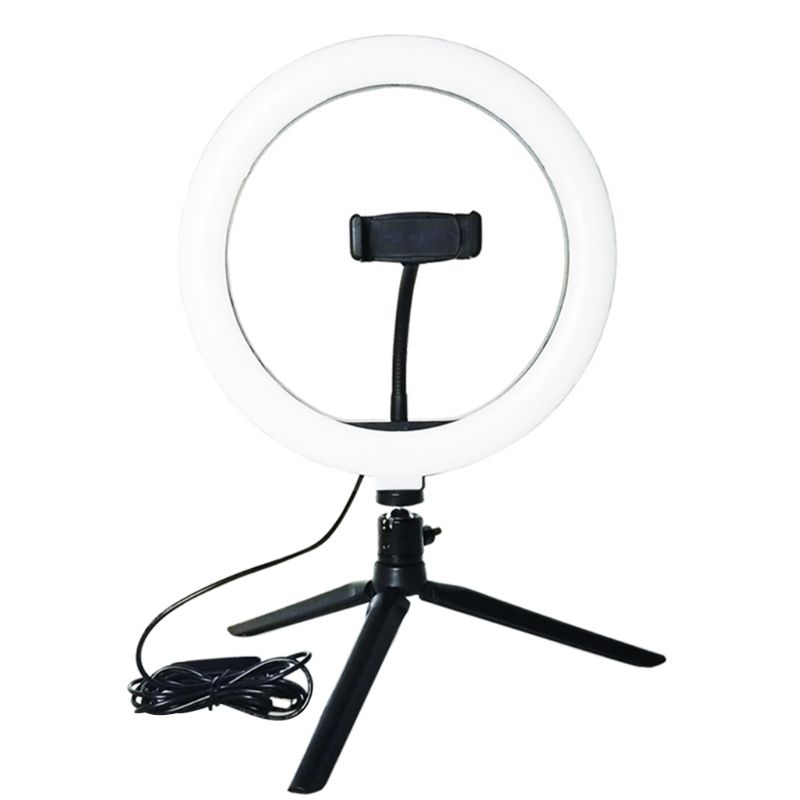 Adjustable Tripod Stand Selfie Ring Light with Phone Holder Mini LED Camera Ring
