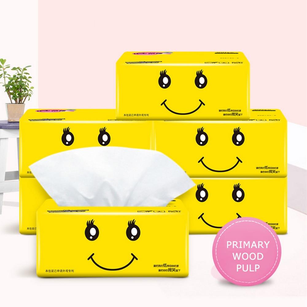 6pcs Home Pure Wood Pulp Paper Towel Toilet Paper Paper Extraction Quick Dissolve 4-layer Each Piece Facial Tissue Paper Napkins