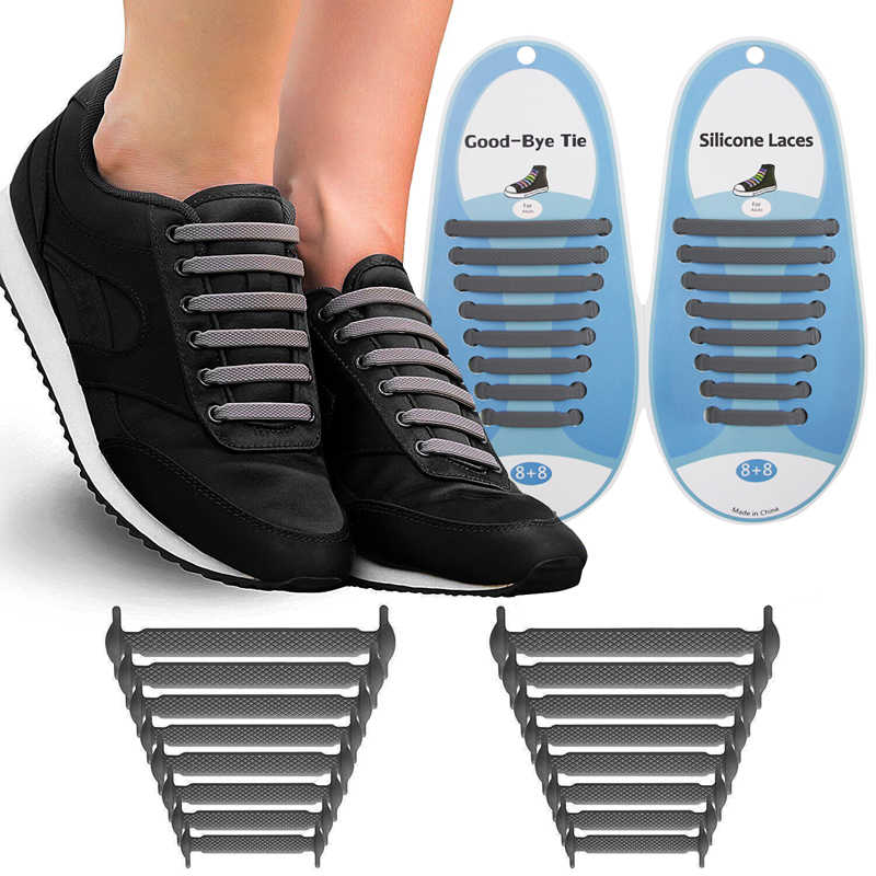 16pcs Waterproof Silicone Elasticated Lace Laces for Adults /& Children/'s Shoes