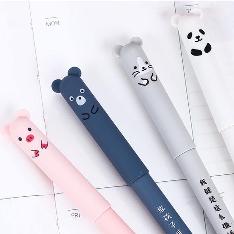 4 Pcs/lot Erasable Blue Ink Gel Pen 0.35mm Panda Pink Mouse Magic Pens School Office Pens Writing Supply Stationery Gifts