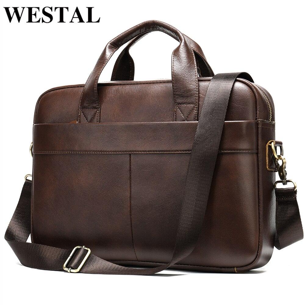 WESTAL Bag Executive For Men Men's Briefcase Bag Men's Genuine Leather Laptop Bag For Men Porte Document Business Handbag