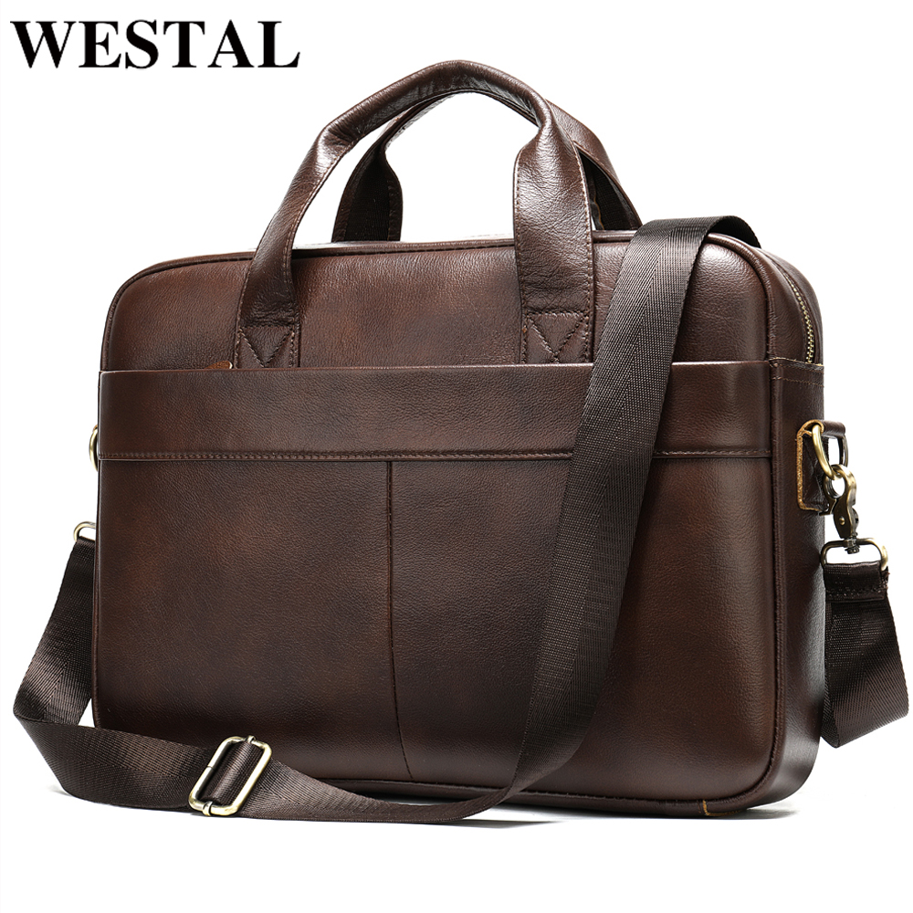 WESTAL Men's Briefcase Bag Men's Genuine Leather Laptop Bag For Men Office Bag For Men Porte Document Business Briefcase Handbag