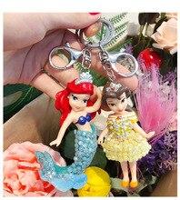 2019 New Cartoon Animated crystal Mermaid Princess Car Key Chain Female Bag Woven Pendant Luxury Keychain