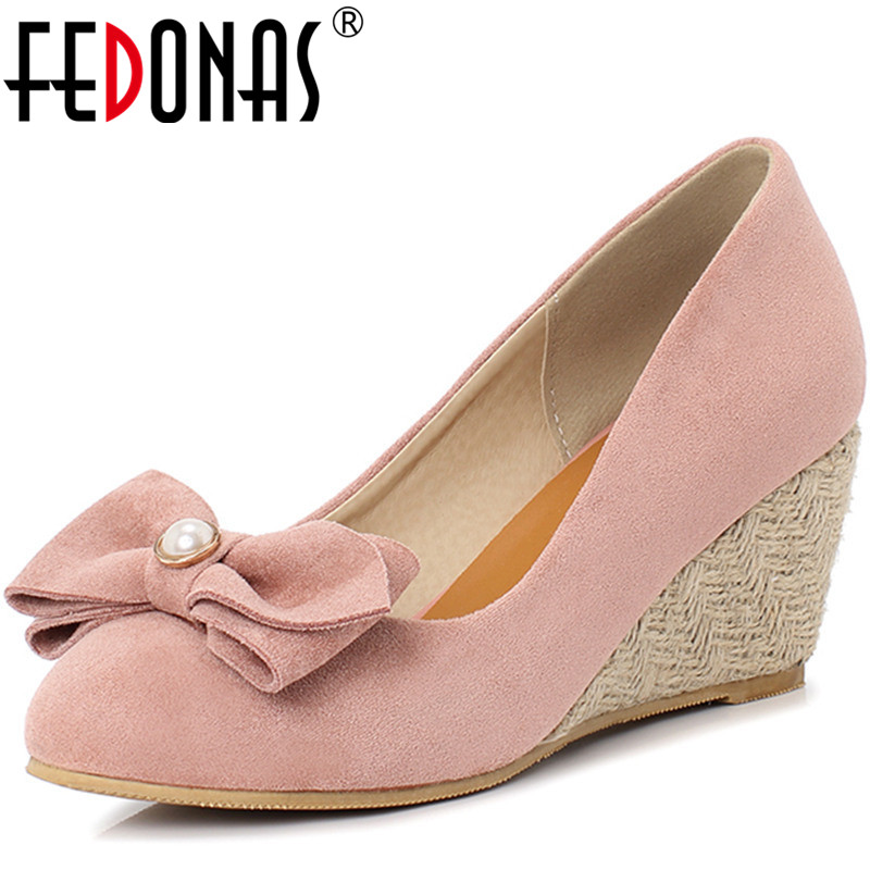FEDONAS  Women Pumps Pearl Round Toe Butterfly Knot  Spring Summer Concise Pu Casual Shoes Concise Classic Design Shoes Woman