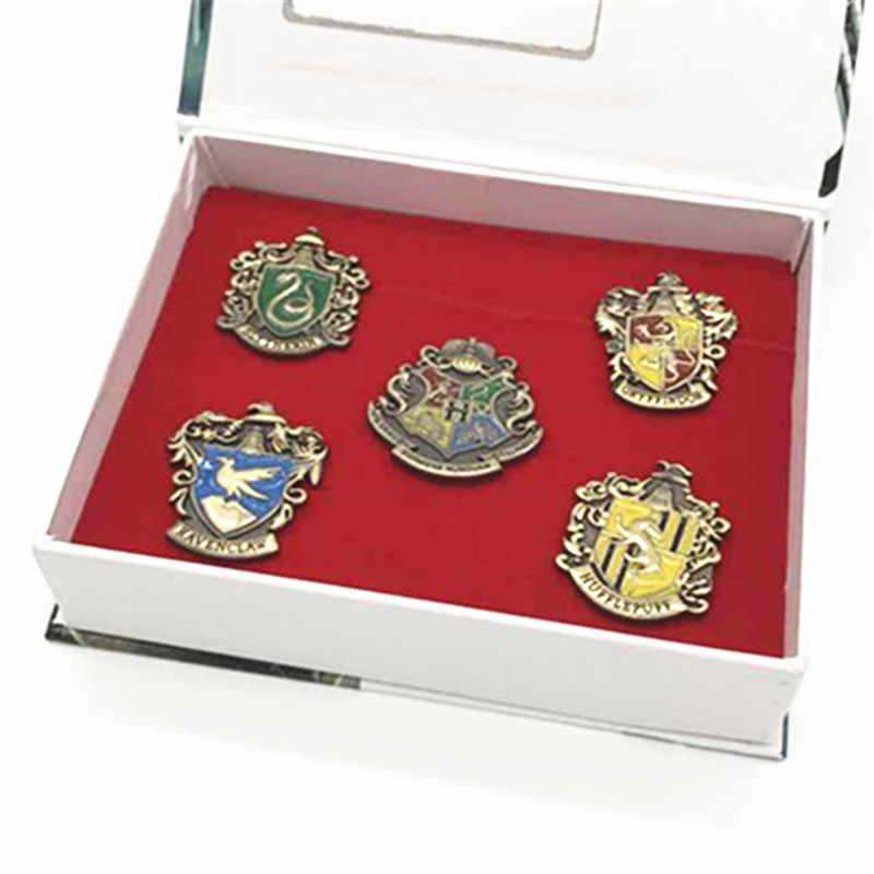 5-piece Set Cosmopoliti Ceramisti Magico Distintivo Scuola Grifondoro Hogwart Simbolo del Metallo Spilla Spilli Cosplay Regalo Con La scatola