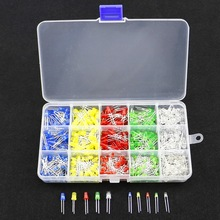 500pcs 3MM 5MM Led Kit With Box Mixed Color Red Green Yellow Blue White Light Emitting Diode Lamp Assortment Kit