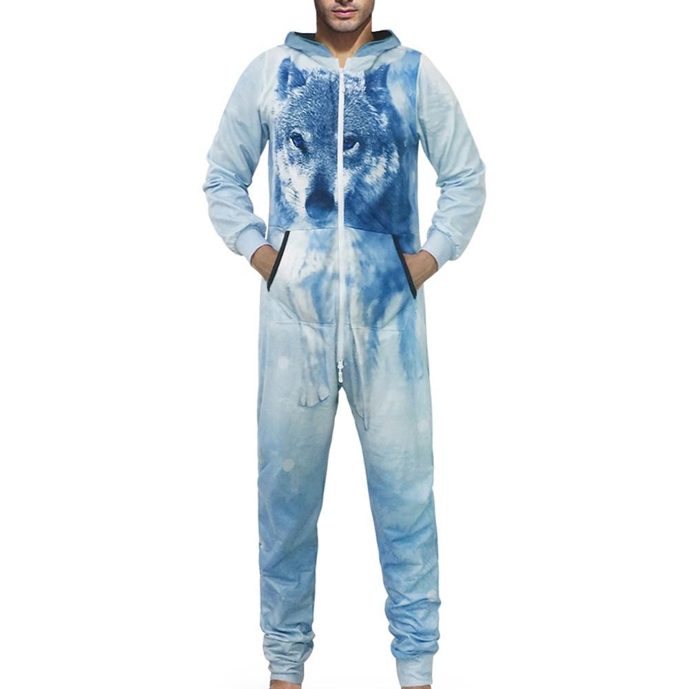 Onesies Men Pajamas Family 3D Printed Jumpsuit Adult Sleepwear Nightwear Romper Pijama Hombre D91127