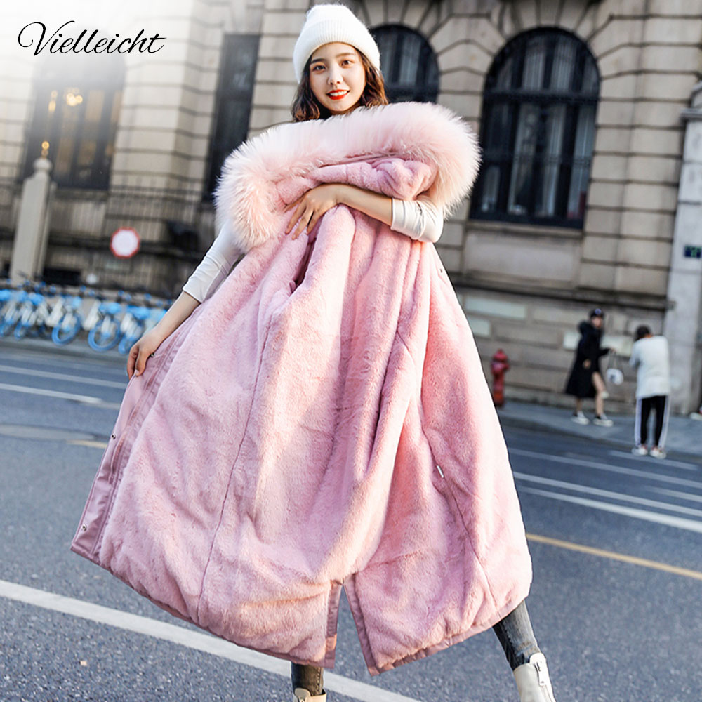 Vielleicht Winter Jacket Parkas 2020 -30 Degree Women's Winter Long Coats Hooded Fur Collar Thick Warm Winter Jackets Women(China)