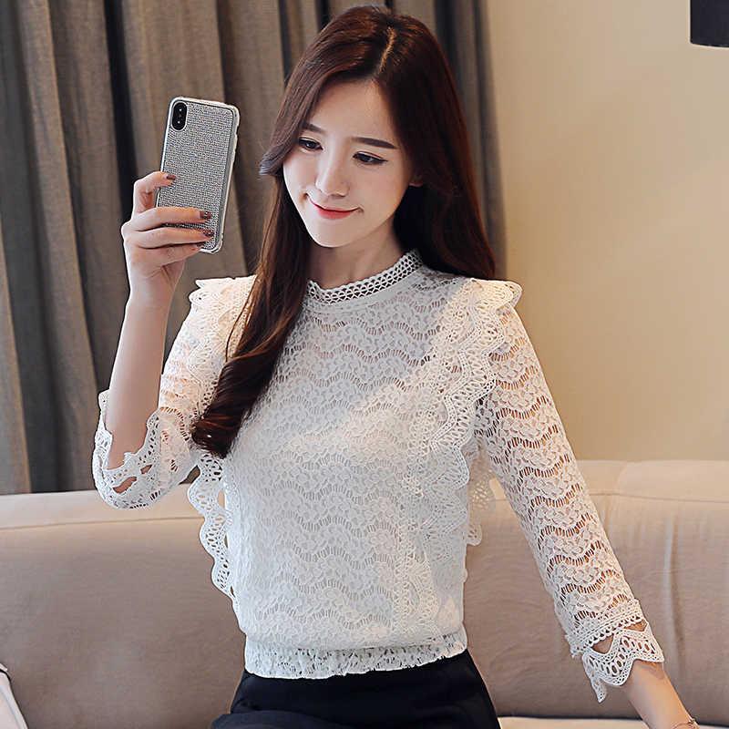 Korean Fashion Lace Women Blouses Three Quarter Ruffles Pink Women Shirts Plus Size XXXL Blusas Femininas Elegante Ladies Tops