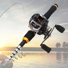 NEW Carbon 1.65m Casting Rod and  Baitcasting Reel set telescopic Travel lure Rod 10-20g  Lure Weight Fishing Tackl free gift