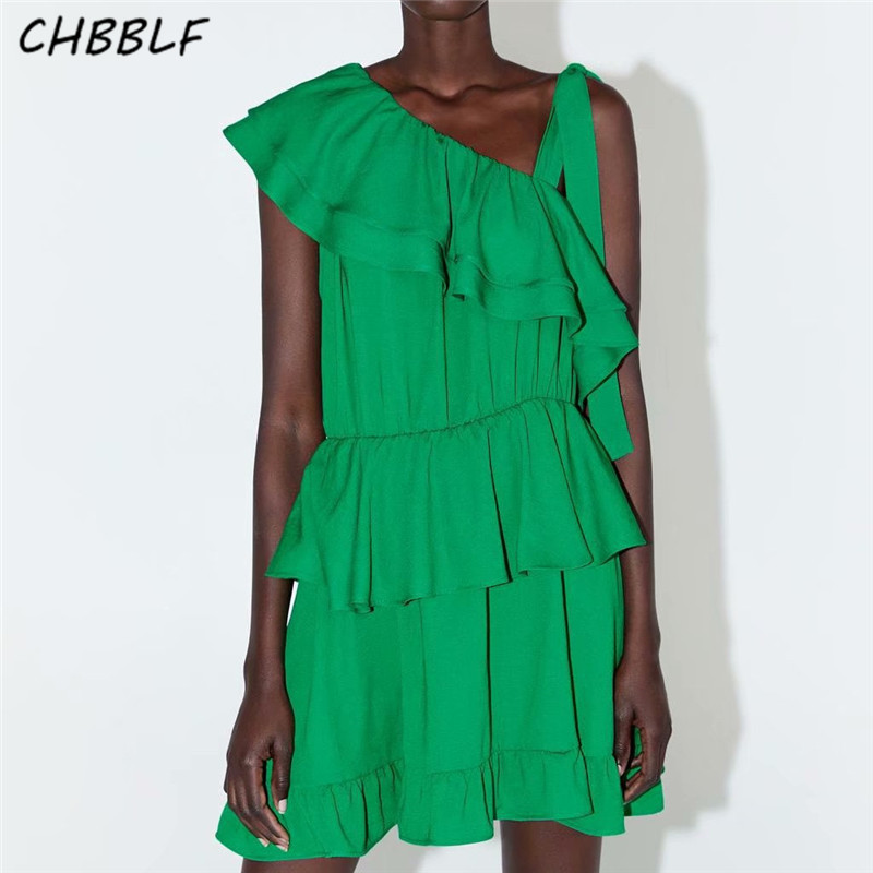 CHBBLF sweet ruffled chiffon mini dress irregular design elastic waist pleated green elegant cute chic dresses HJH2187
