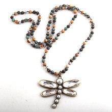 RH moda Bohemian takı 6mm yarı değerli taş kristal uzun düğümlü Metal yusufçuk kolye kolye kadın Boho kolye