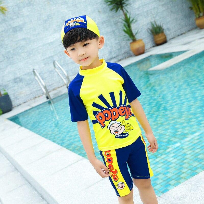 New Style CHILDREN'S Swimming Trunks Swimming Cap BOY'S Swimsuit AussieBum Cartoon Pattern Wicking Breathable
