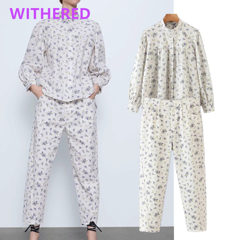 Withered England High Street Bubble Texture Floral Print Blusas Mujer De Moda 2020  Blouse Women Harem Pants Women 2 Piece Set