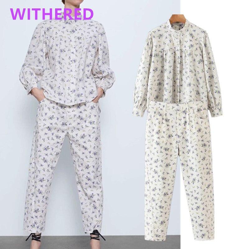 Withered England High Street Bubble Texture Floral Print Blusas Mujer De Moda 2020  Blouse Women Harem Pants Women 2 Piece Set