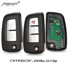 Jingyuqin 2/3 ボタン 433 mhz 4A PCF7952E フリップリモートキー日産キャシュカイ J11 パルサー C13 ジューク F15 x トレイル T32 マイクラ CWTWB1G767