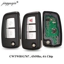 Jingyuqin 2/3 Nút 433 Mhz 4A PCF7952E Flip Remote Chìa Khóa Dành Cho Xe Nissan Qashqai J11 Sao Xung C13 Juke F15 X đường Mòn T32 Micra CWTWB1G767