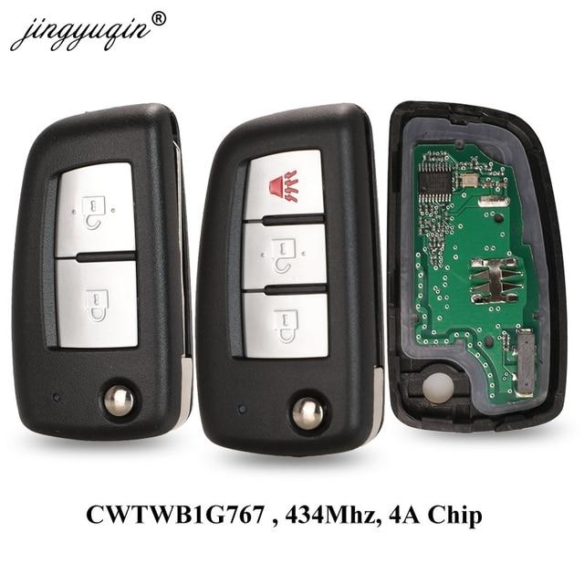 jingyuqin 2/3 Buttons 433MHz 4A PCF7952E Flip Remote Key For Nissan Qashqai J11 Pulsar C13 Juke F15 X Trail T32 Micra CWTWB1G767