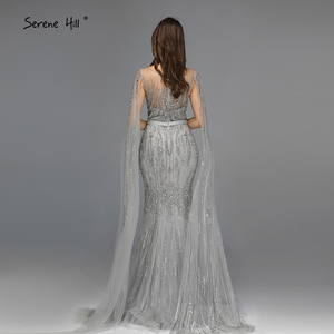 Image 3 - Grey Luxury Sleeveless Dubai Design Evening Dresses 2020 O Neck Crystal Beading Sexy Evening Gowns Serene Hill LA70160