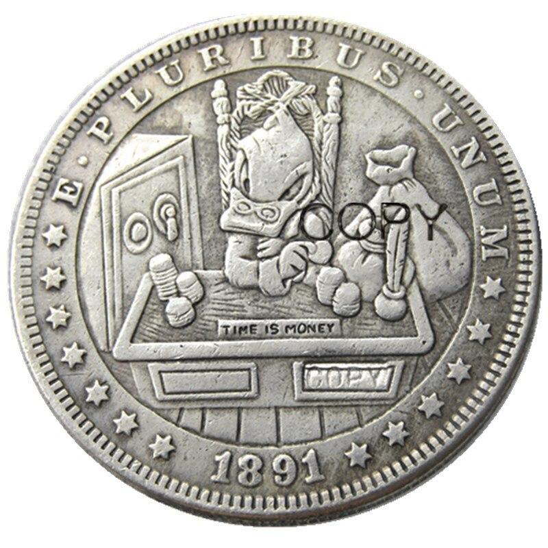 HB(69)US Hobo 1891 Morgan Dollar Skull Zombie Skeleton посеребренные копировальные монеты