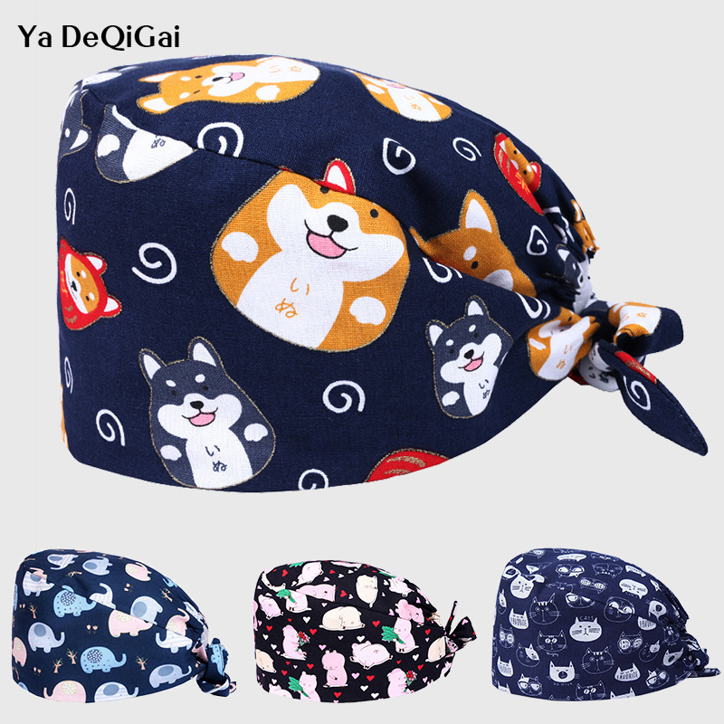 High Quality Printing Medical Surgical Caps Unisex Adjustable Dentistry Hats Operating Pet Hospital Doctor Nurse Caps Women&men