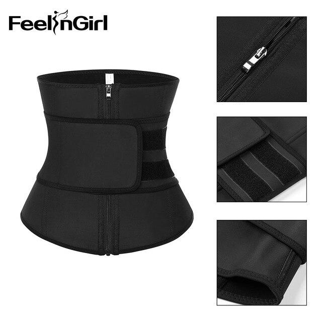 FeelinGirl XS-9XL Abdominal Belt High Compression Zipper Latex Waist Trainer Underbust Body Fajas Sweat Slimming Waist Cincher 4