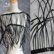 Натуральное страусиное перо кисточка кружевная отделка черный