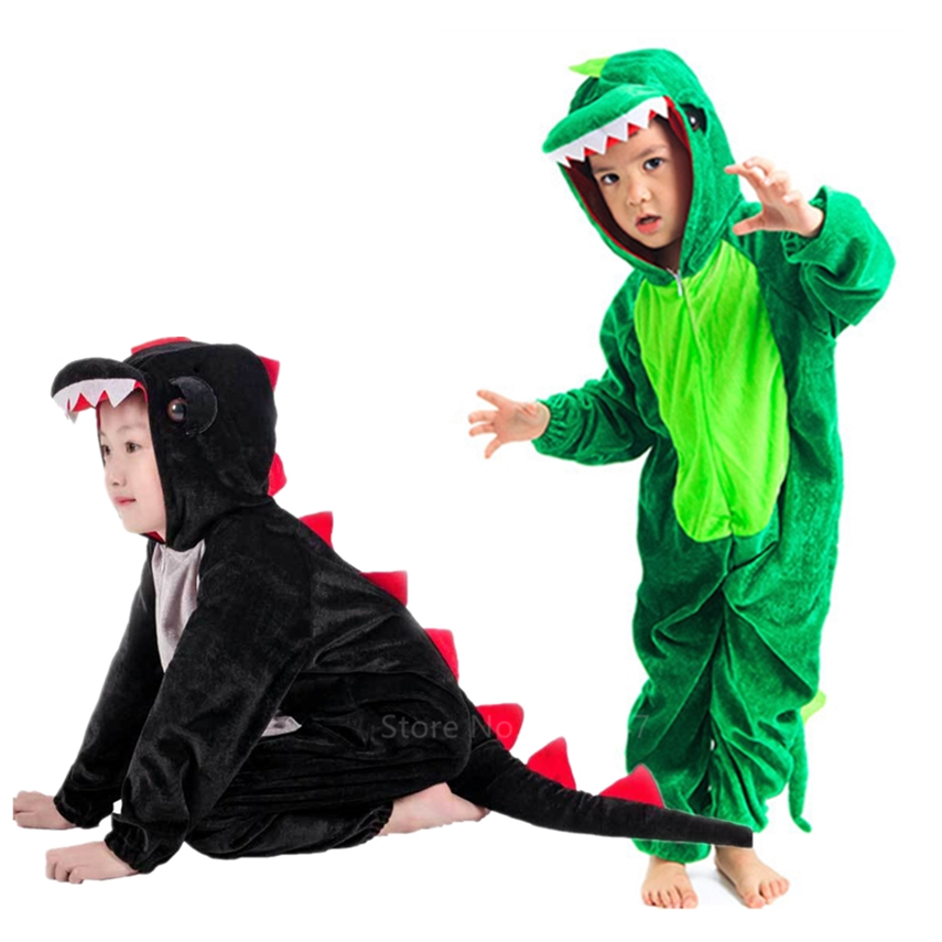 Dinosaur Costume Children Cosplay Animal Hooded Jumpsuit Kids Halloween Carnival Party Velvet Cosplay For Boy Gift Black/Green