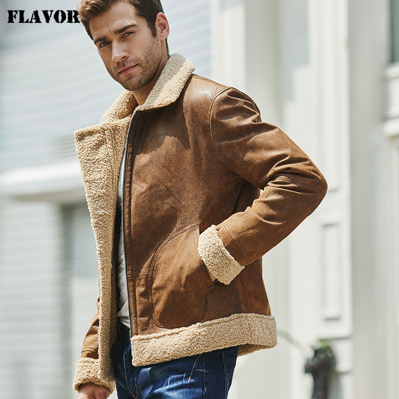 New Men's Real Leather Jacket Faux Fur Collar Genuine Leather Jacket