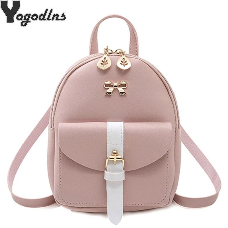 2019 New Mini Cartoon Backpack Dual-use Small Diagonal Cross Bag PU Leather Knapsack Fashion Girl Small Cute Bow Female Packbag