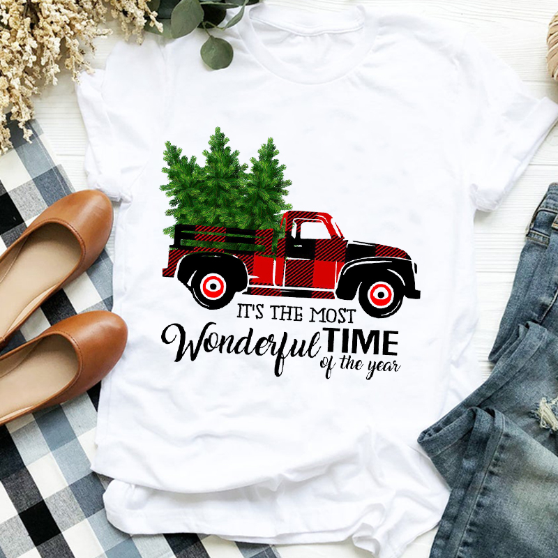 Women Lady Leopard Truck Tree Autumn Winter Merry Christmas Womens Clothes Shirt T Tee for Tshirt Female Top Graphic T-shirt 3