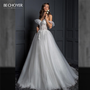 Image 1 - Vestido de Noiva Romantic Appliques Tulle Wedding Dress Sweetheart 2 In 1 Illusion A Line Princess Bride Gown BECHOYER Z124