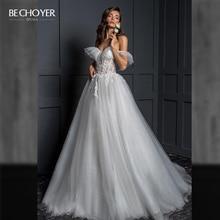 Vestido de noiva princesa bechoyer z124 vestido de noiva vestido de noiva de tule romântico 2 em 1 ilusão