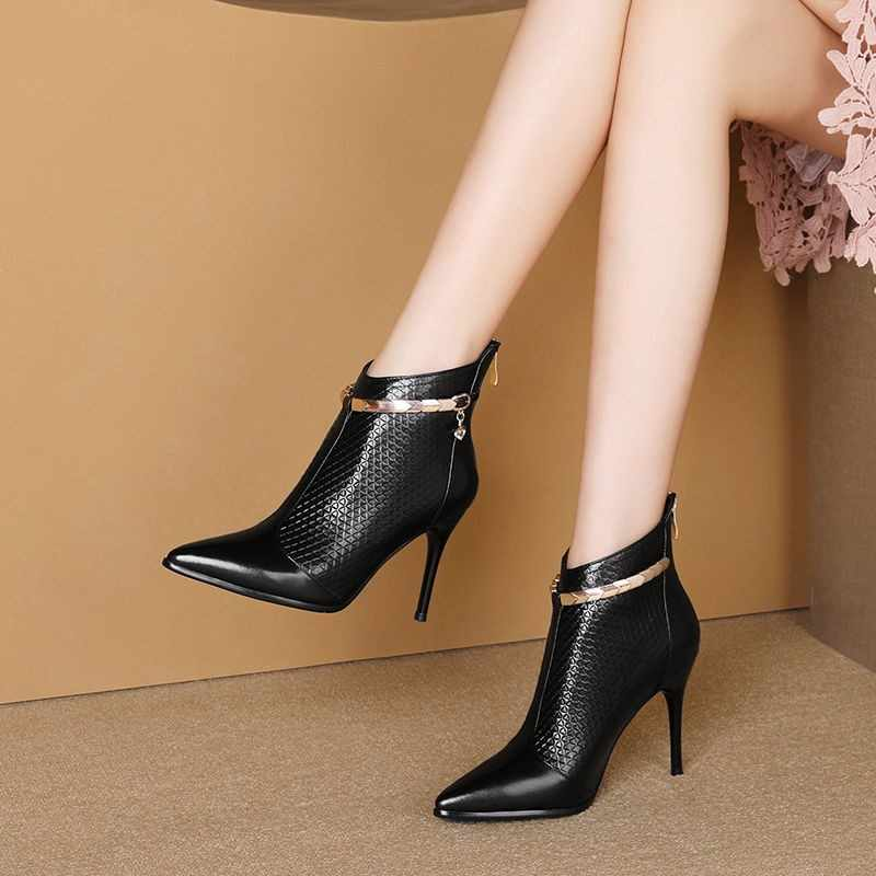 Winter Warm Fall Women/'s Ladies Zip Faux Suede Pointy Toe High Heel Ankle Boots