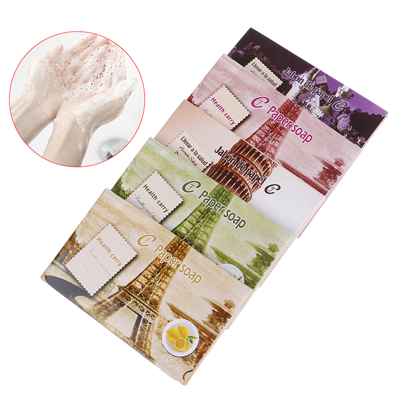 15pcs Disposable Boxe Soap Portable Mini Paper Soap Outdoor Travel Soap Paper Washing Hand Bath Clean Scented Slice Sheets