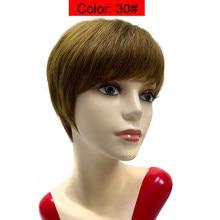Corte Pixie-pelucas de cabello humano corto con flequillo, liso, Perruque, Cheveux Humain, brasileño, para mujeres negras, barato, Bob, Remy
