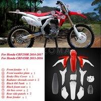 For Honda CRF 250/450 R Motocross Front & Rear Fender Full Fairing Cover Side Case Kit Plastic Oil Fuel Tanks w/ Foam Seat Guard