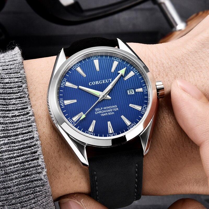Luxury Brand Corgeut 41mm Men Clock Leather Calendar Miyota Automatic Relogio Masculino Blue Dial Sapphire Glass Men Watch