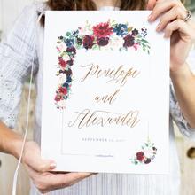 Персонализированная бордовая Свадебная Гостевая книга, Золотая фольга и марсала Свадебная Гостевая книга, бордовая Цветочная бохо, фото Гостевая книга на день рождения