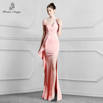 Boat Neck Candy Color Elegant  Mermaid Evening Dress prom gowns Formal Party dress vestido de festa women - discount item  62% OFF Special Occasion Dresses
