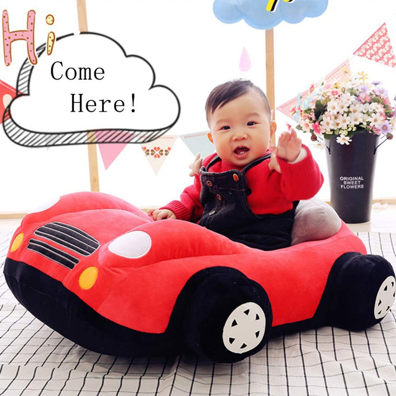 Infant Learning Sit Chair Baby Sitting Chair Support Plush Support Car Seat Toddler Cartoon Car-shaped Sofa
