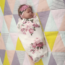 Newborn Infant Floral Print Baby Sleeping Blanket Headband 2 Piece Swaddlings Blankets Bedding Wrap