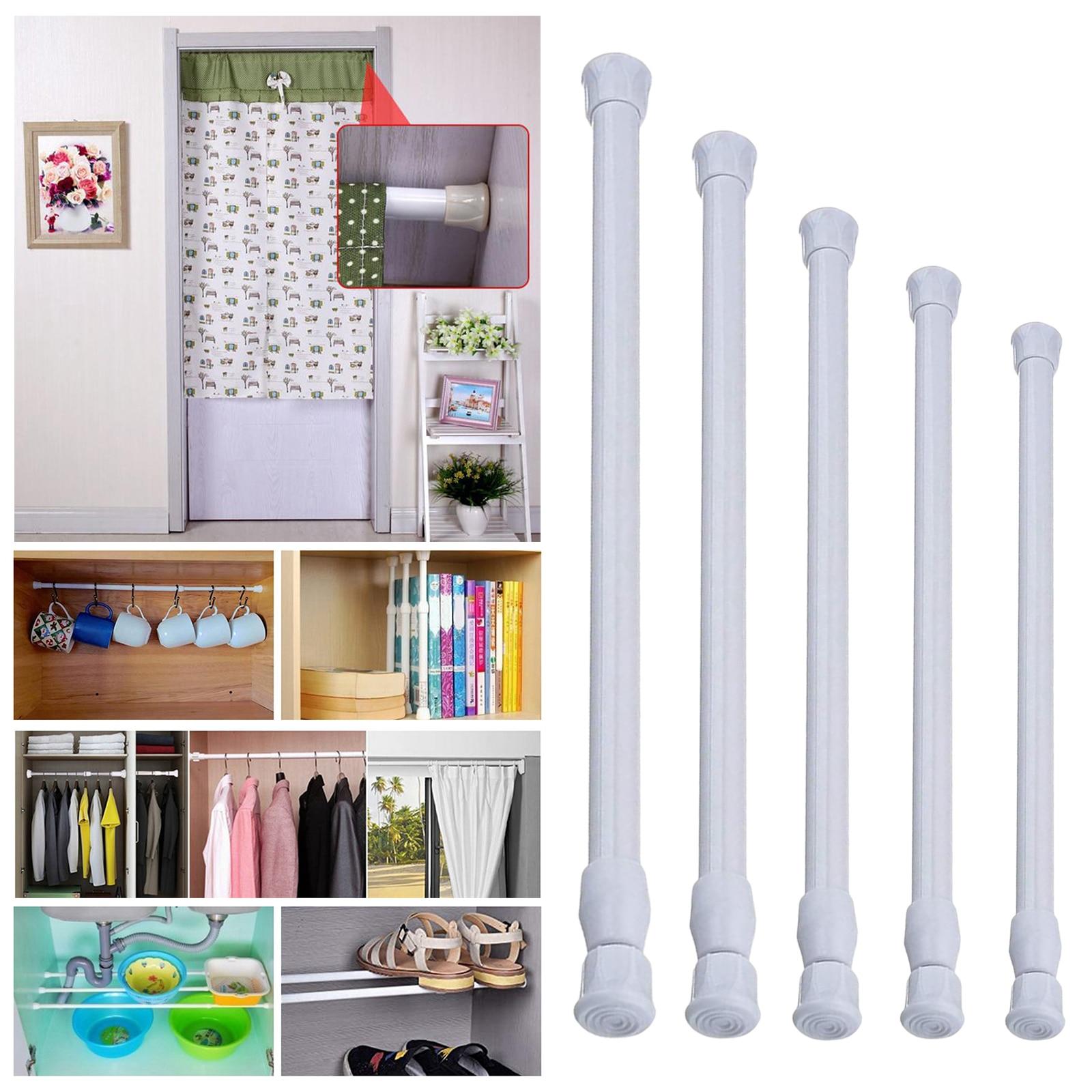 Telescoping Curtain Rods Adjustable Bar for Bathroom Cupboard Wardrobe White