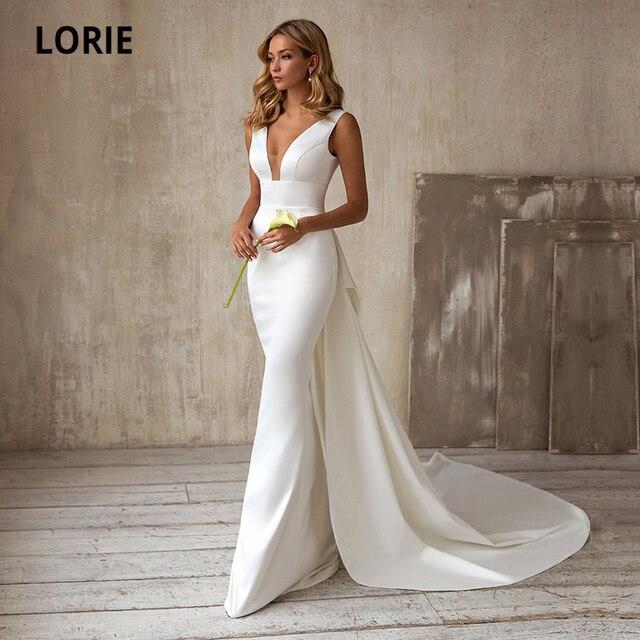 LORIE Elegant Mermaid Wedding Dresses with Detachable Train Bow White Ivory Boho Wedding Bridal Gown V-Neck abito da sposa 1