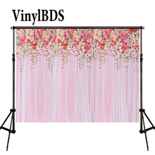 цена на KATE Photography Backdrop 8x8ft Wedding Backdrops Pink Curtain Background Photography Floral Backdrops for Wedding Photocall
